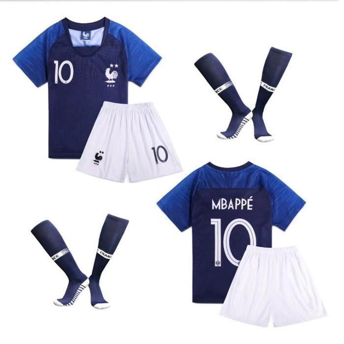 MBAPPE NO.10 Equipe de france 2 étoiles - Enfant Maillot et Shorts de football +Chaussettes Bleu