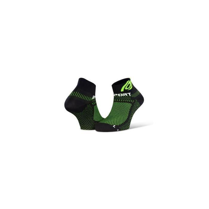 Chaussettes Running BV SPORT Ligth 3D Courte Noir / Vert PE 2020