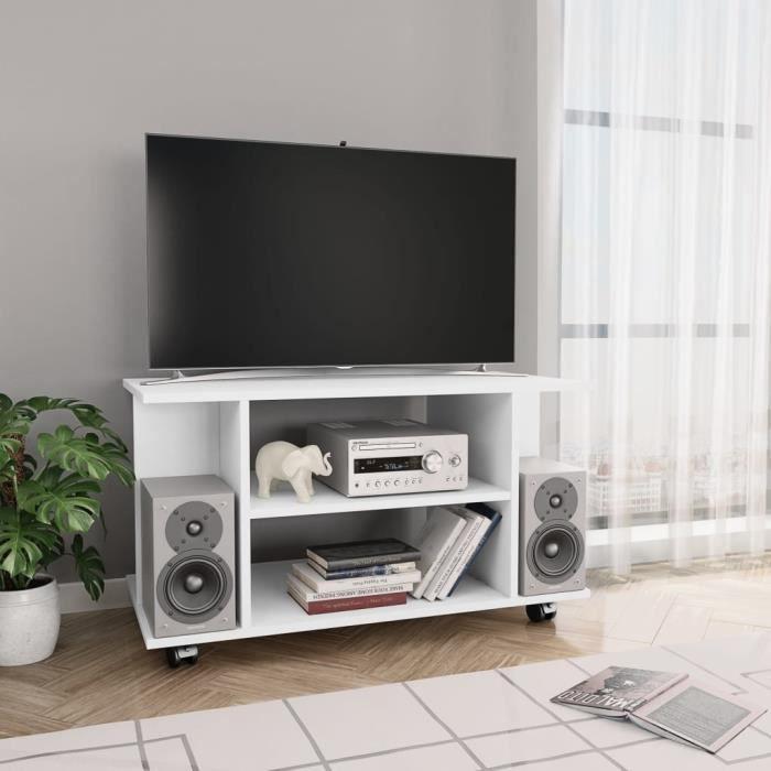 Meuble TV-contemporain Meuble salon Banc TV avec roulettes Blanc 80 x 40 x 40 cm Aggloméré