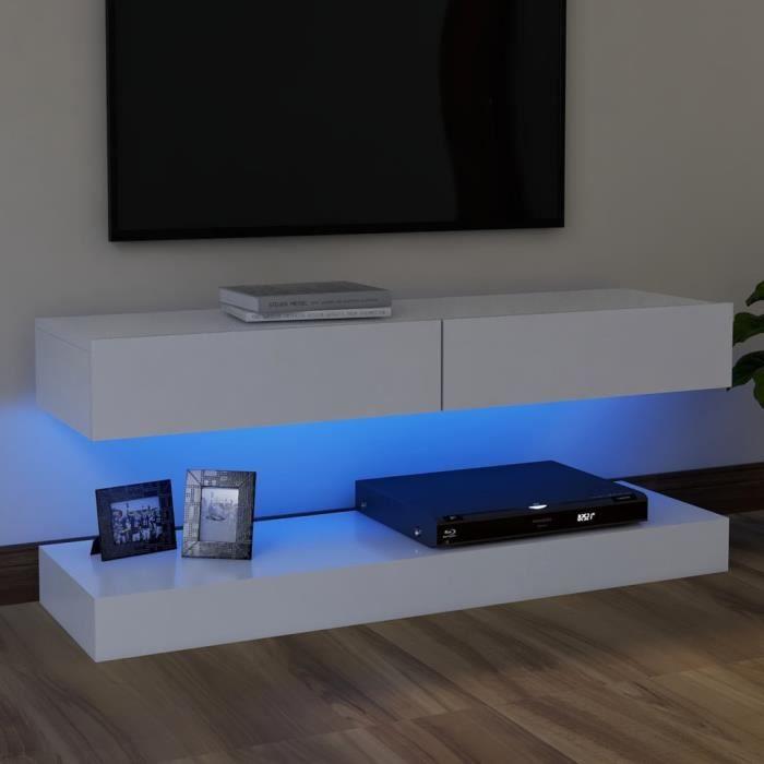 6141lOVE® Meuble TV Vintage Design-Armoire TV avec lumières LED,Banc TV,Table Salon Blanc 120x35 cm