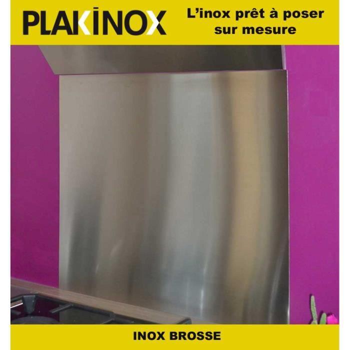 Credence Adhésive L90 x H60 cm INOX BROSSE type 304 1 mm