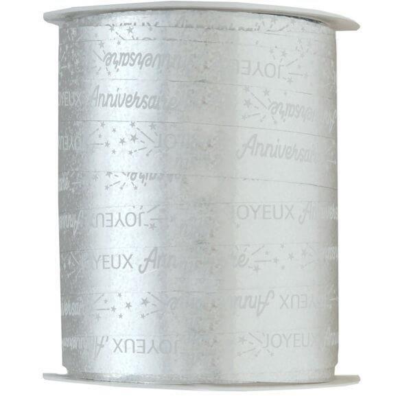 R/6774 - 1 Bobine ruban bolduc joyeux anniversaire argent métallique 25m