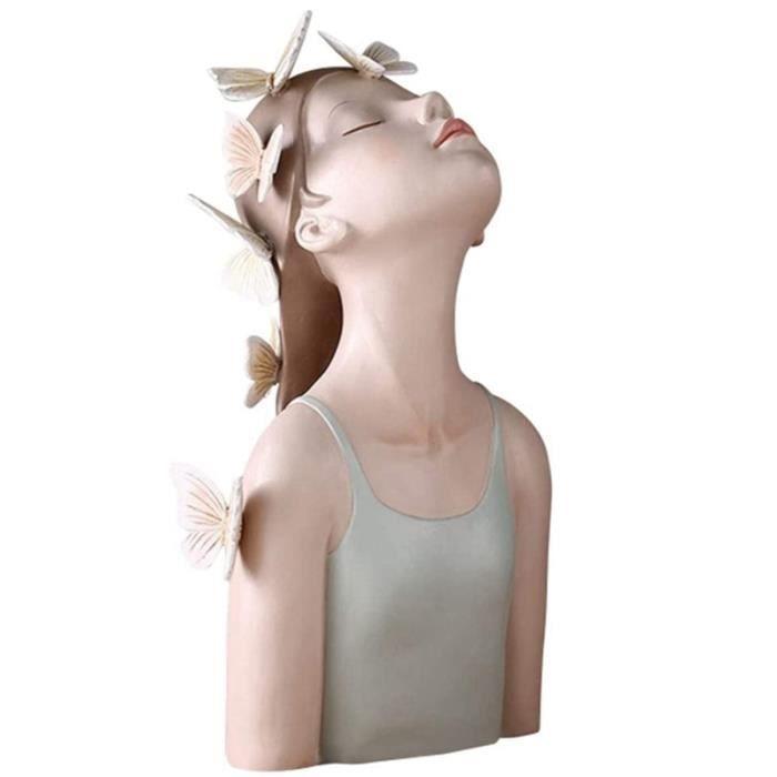 Buste Sculpture Papillon Fille RéSine Statue Personnage Artisanat Cadeau Maison Bureau Ornement pour Chambre DéCorative Vert S