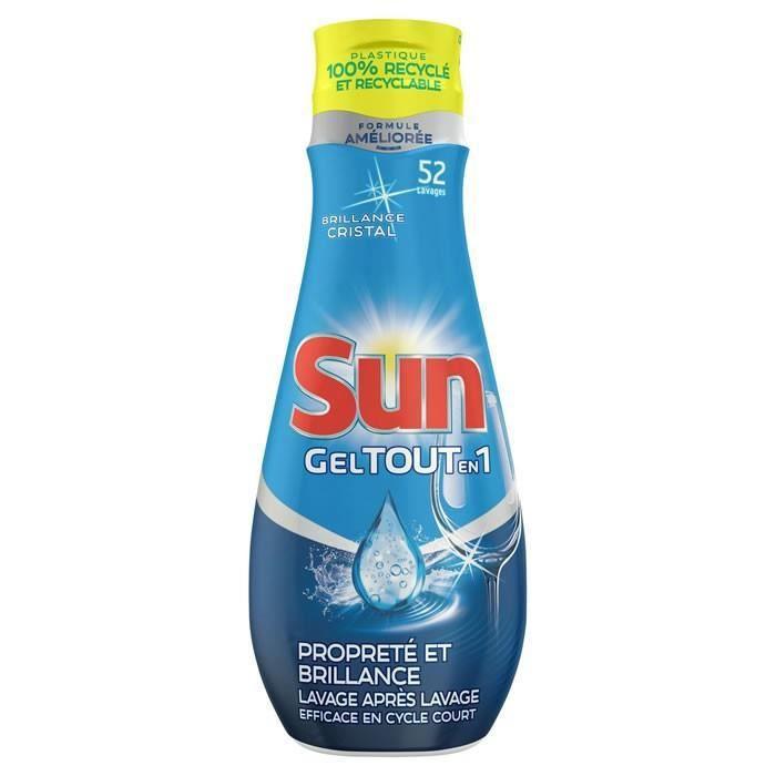 LOT DE 4 - SUN : Tout-en-1 - Gel lave-vaisselle propreté & brillance 52 lavages 900 ml