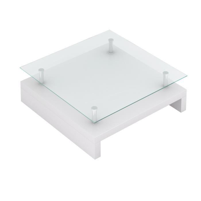 Table basse de salon carrée en verre laqué blanc