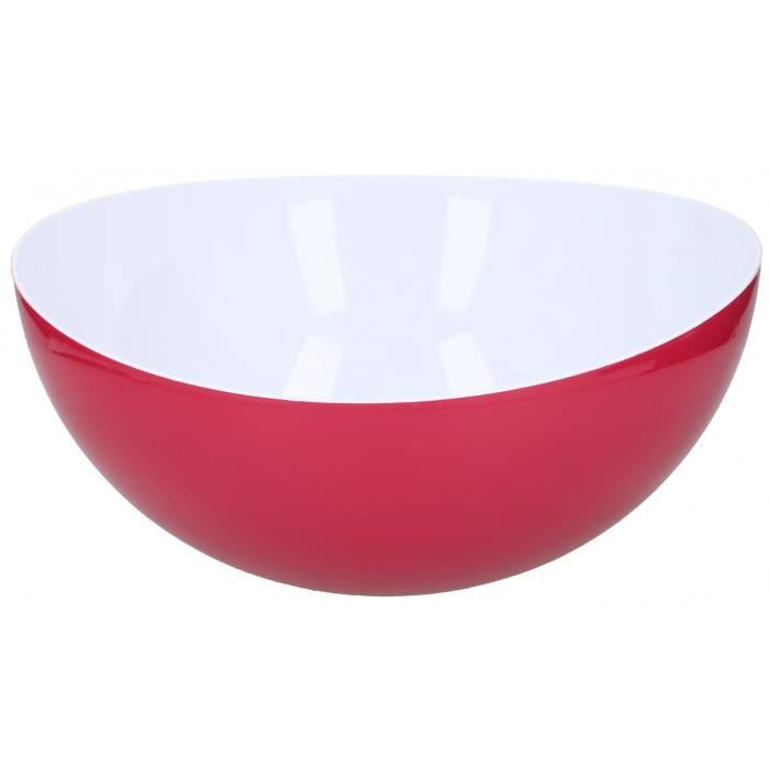 TOM saladier 8 litres polystyrène 35,5 cm blanc/rouge