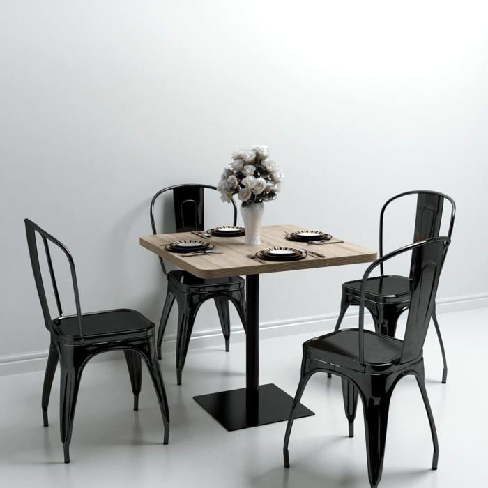 vidaXL Table de bistro MDF et acier Carré 80x80x75 cm Couleur de chêne