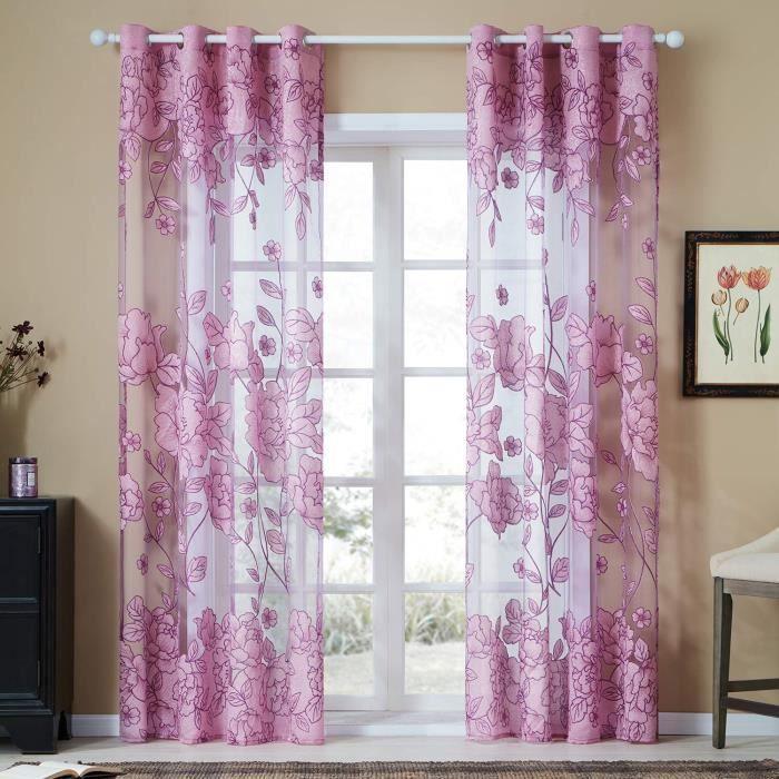 Lot de 2 Rideau Decoration Chambre à Oeillet de Jacquard Rideaux Voilages Semi-Transparent pour Salon Violet Taille: 2pcs-140x245cm