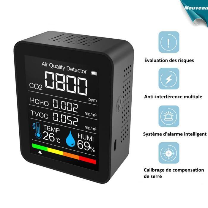 Testeur de Qualité de l'air, Moniteur de Qualité de l'air CO2/HCHO/TVOC/Température/Humidité, Plage de Mesure 400-5000PPM - Noir