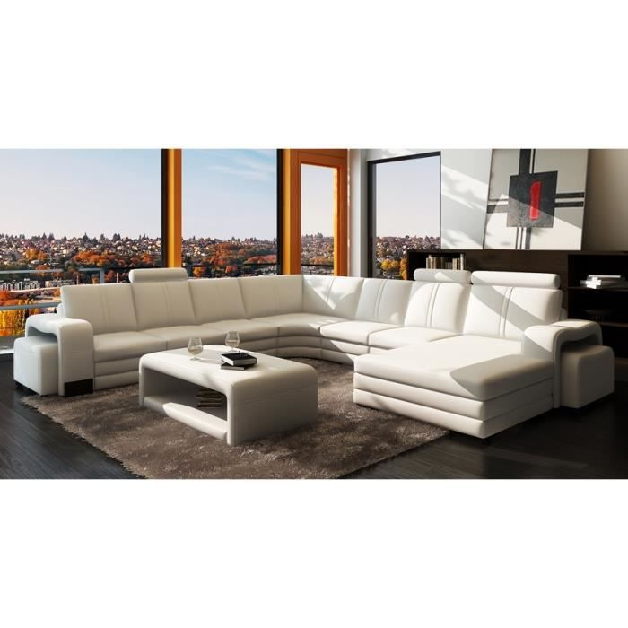 canap d 39 angle panoramique cuir blanc 10 places ha achat vente canap sofa divan. Black Bedroom Furniture Sets. Home Design Ideas