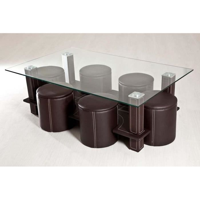 table basse 6 poufs marron achat vente table basse