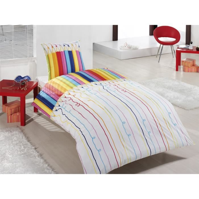parure housse de couette en imprim e enfant crayons. Black Bedroom Furniture Sets. Home Design Ideas