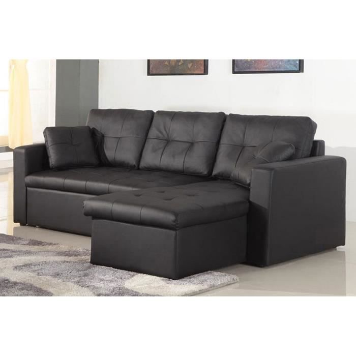 canap angle droit convertible cuir noir anglet achat vente canap sofa divan cuir. Black Bedroom Furniture Sets. Home Design Ideas