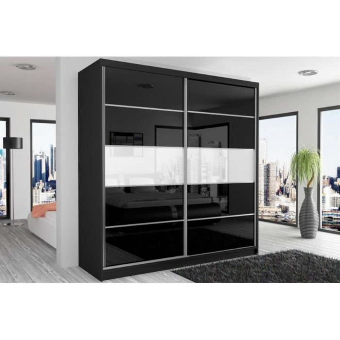 justhome beauty vii armoire 218x200x60 cm couleur noir. Black Bedroom Furniture Sets. Home Design Ideas