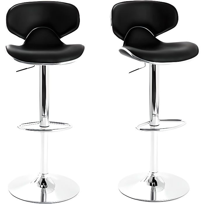 miliboo lot de 2 tabourets de bar design noir achat vente tabouret de bar noir cdiscount. Black Bedroom Furniture Sets. Home Design Ideas