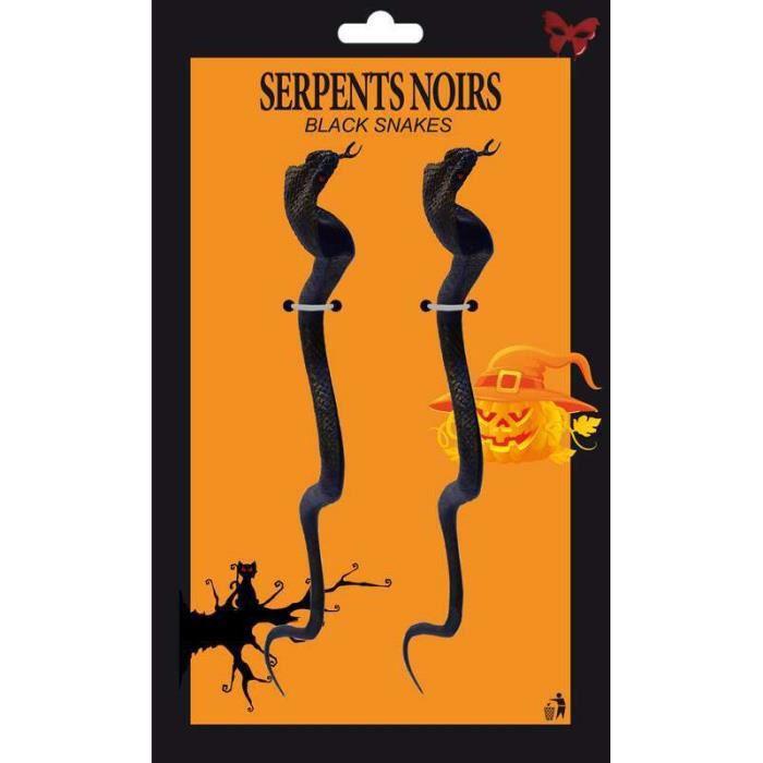 Déco de fête murale Carte de 2 cobras noirs de 34 cm
