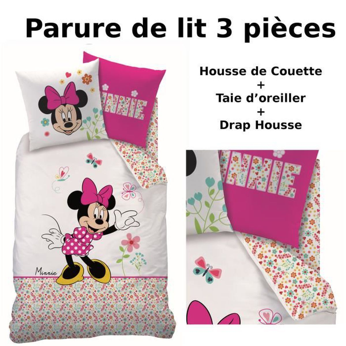 drap housse minnie achat vente drap housse minnie pas cher cdiscount. Black Bedroom Furniture Sets. Home Design Ideas