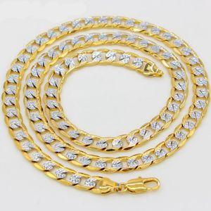 CHAINE DE COU SEULE deux Ton solide Collier Or 18 carats plaqué chaîne