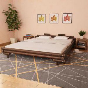 STRUCTURE DE LIT Lit en bambou 180 x 200 cm Marron foncé