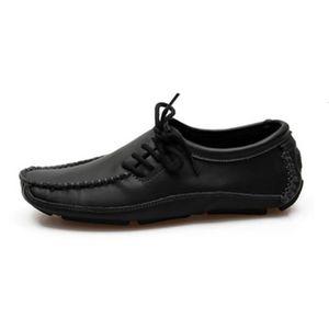 Mocassins Homme Cuir Chaussures Bateau Homme Noir