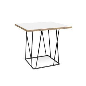 TABLE BASSE Table basse HELIX 50 plateau blanc mat/bois struct