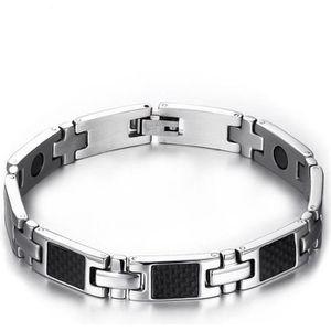 BRACELET - GOURMETTE Bracelet homme acier magnetique fibre de carbone