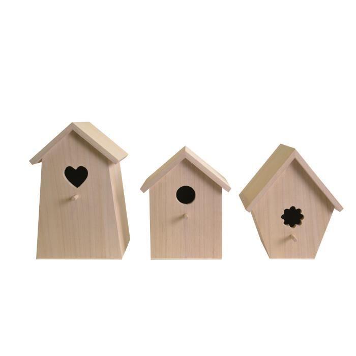 Nichoir à oiseau en bois 3 pièces - Artémio Marron