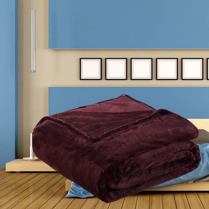Couverture de velours corail Couverture de lit chaude et légère 200x230cm (brun foncé)--Nic