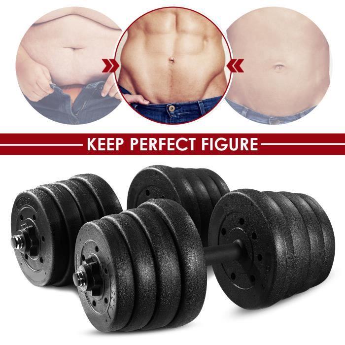 30 kg haltère réglable - BESPORTBL(2,5 kg * 4 pièces + 2,0 kg * 4 pièces + 1,5 kg * 4 pièces + 1,25 * 4 pièces + 2 pôles + 4 écrous)