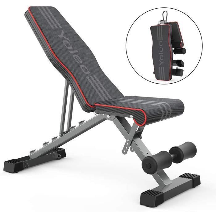 Banc de Musculation Pliable Multifonction, Banc d'entraînement Réglable Abdominaux et Dorsaux Inclinable 0 - 180°