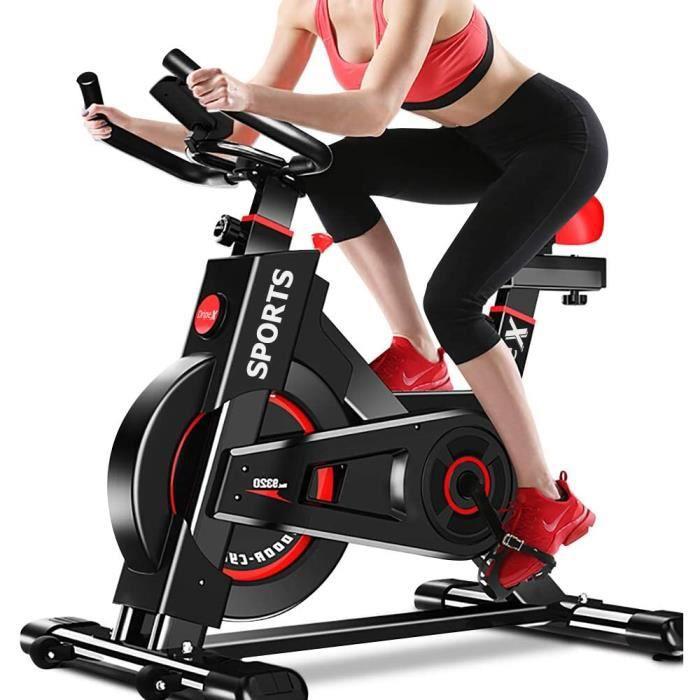 Vélo d'Appartement Cardio Vélo Spinning Appareil Fitness Abdominal Dos Bras Anti-Résistance Pouls à Main+Capteur Cardiaque+LCD écran