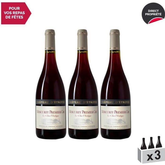 Mercurey 1er Cru Le Clos l'Evêque Rouge 2017 - Lot de 3x75cl - Château d'Etroyes - Vin AOC Rouge de Bourgogne - Cépage Pinot Noir