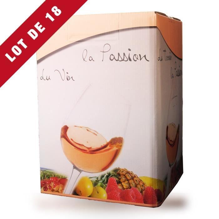 Lot de 18 - Bag-In-Box 10L Domaine de Lescure Rosé IGP Comté Tolosan - 18x1000cl - Vin Rosé