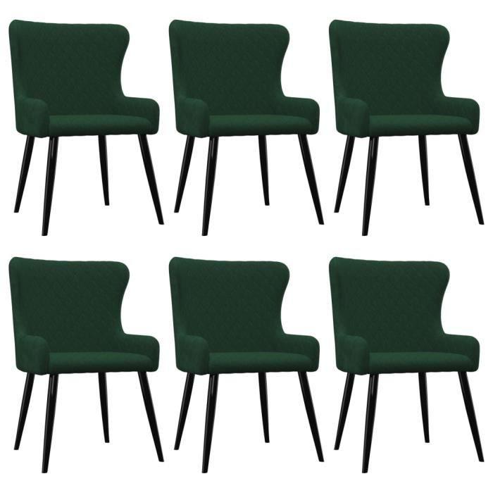 PARFAIT® Lot de 6 chaises de salle à manger - Simili vintage Chaises de Cuisine Vert Velours  TAILLE:60 x 55 x 84 cm