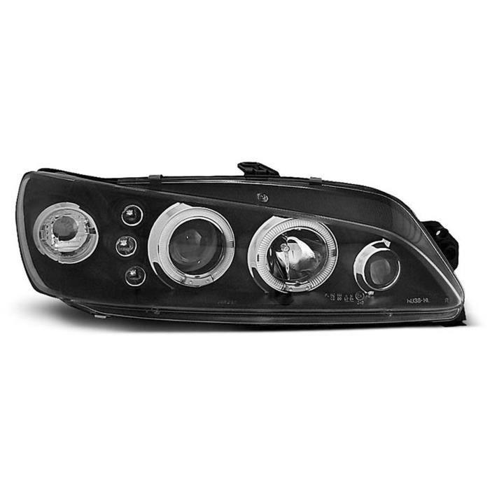 Paire de feux phares Peugeot 306 97-01 angel eyes noir