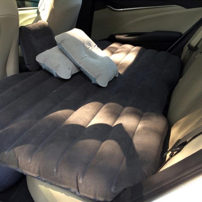 Pack Produit De Confort - CAR Seat Covers - Lit matelas avec coussins gonflables pour voiture et camping - 135 x 85 x 35 cm - Gris