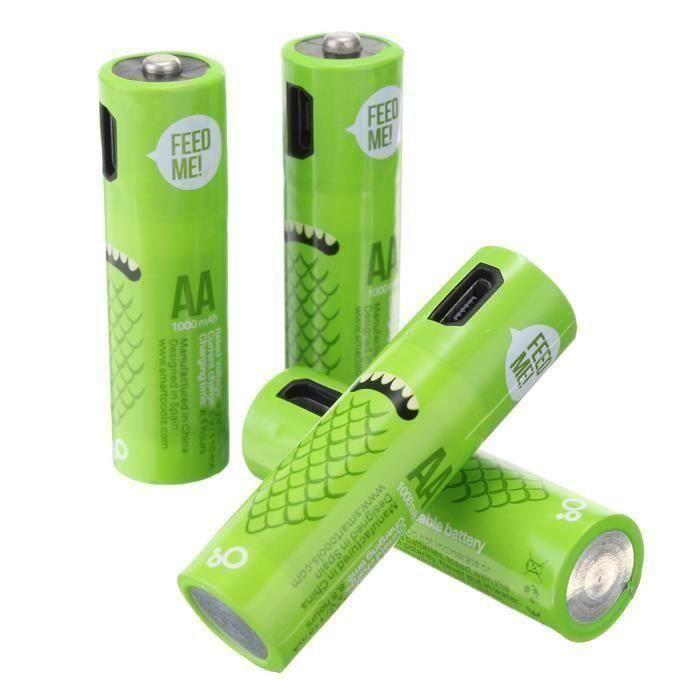 SMARTOOOLS Batterie Piles USB Rechargeable 4x AA 1.2V 1000mAh Ni-Mh + Chargeur Câble
