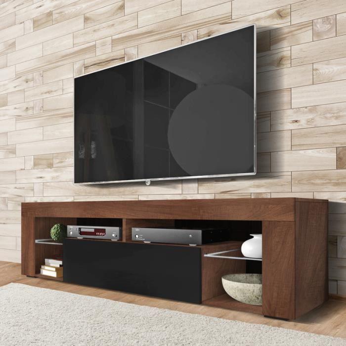 Meuble TV / Banc TV - BIANKO - 140 cm - chêne caravaggio / noir brillant - sans LED - style moderne - tablettes en verre