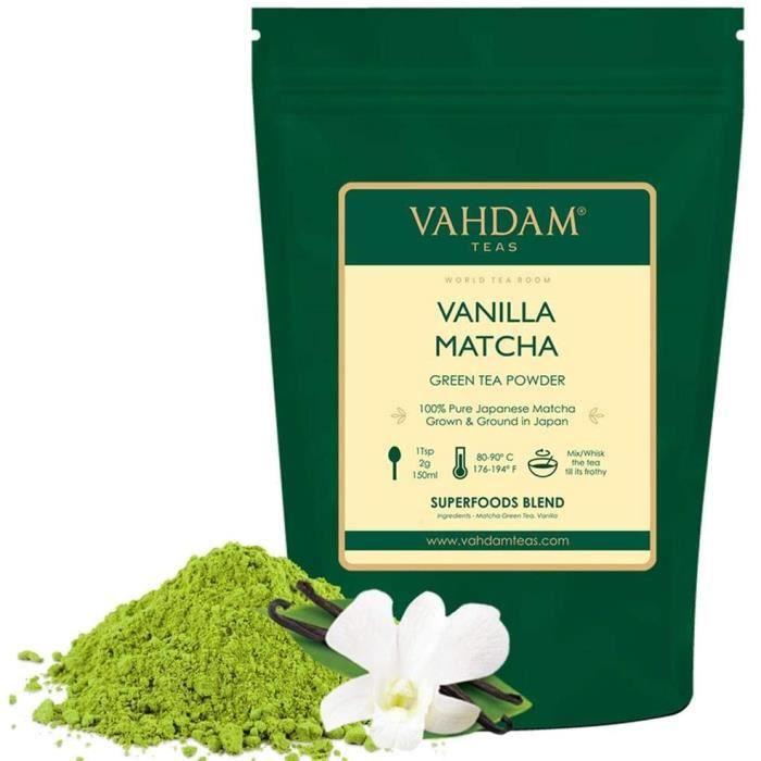 thé vert à la vanille et au matcha (50 tasses) 100g - Poudre de thé Matcha 100% d'origine japonaise PURE - 137x ANTI-OXYDANTS - Thé