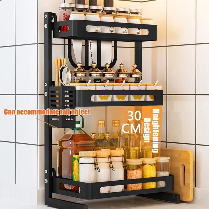 3 Étagères à Épices Organisateur Rangement Bouteille Acier Inoxydable Cuisine Support Mural Métal