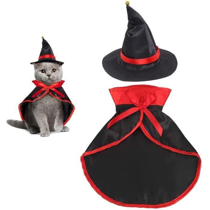 HUYIWEI Costume pour Animaux Costume d'Halloween pour chat Chiens avec Chapeau de Sorcier Drôle Portable Animaux Cape Costume[84]