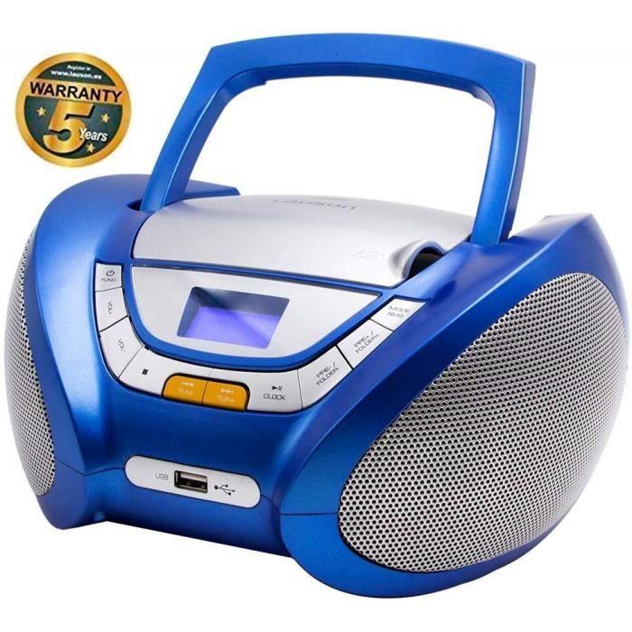 Lauson CP446 Lecteur CD Boombox Radio Portable avec USB, Lecteur MP3 pour Enfant. Prise Casque, Aux-in, Écran LCD (Bleu)