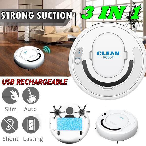 3-en-1 USB Smart Floor Cleaner Smart Sweeping Robot Aspirateur de balayage, blanc