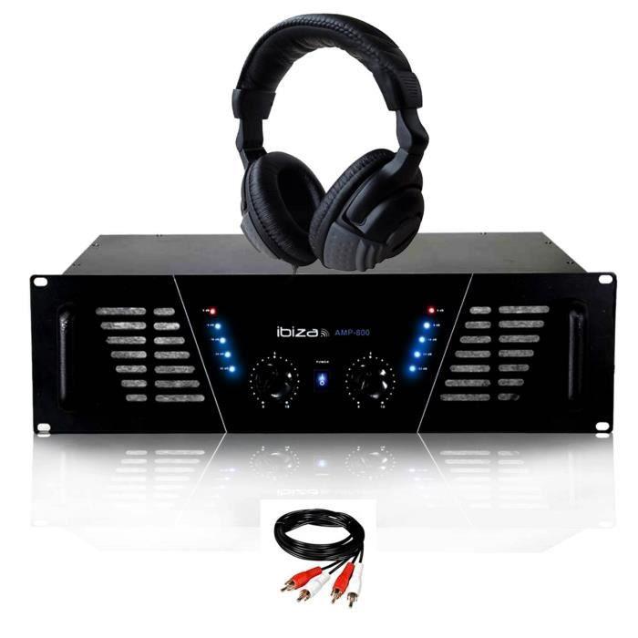 Amplificateur sono Dj 2 x 600W Max IBIZA SOUND AMP-800 + Casque Audio et Câble RCA de liaison