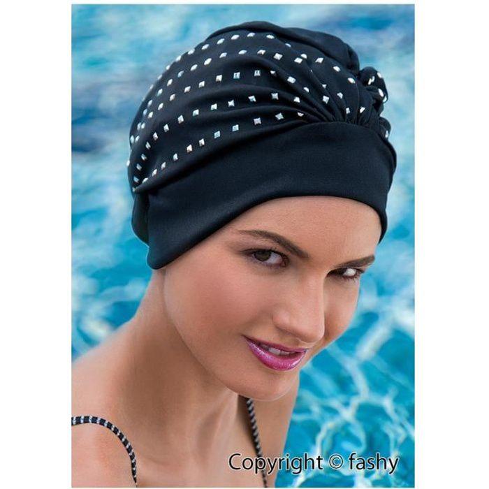 Baignade exclusive cap bonnet de bain dames noir avec des paillettes d'argent
