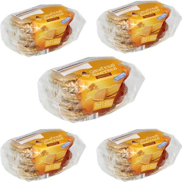 [Lot de 5] Biscuits gaufres fourrées vergeoise - 300g par paquet