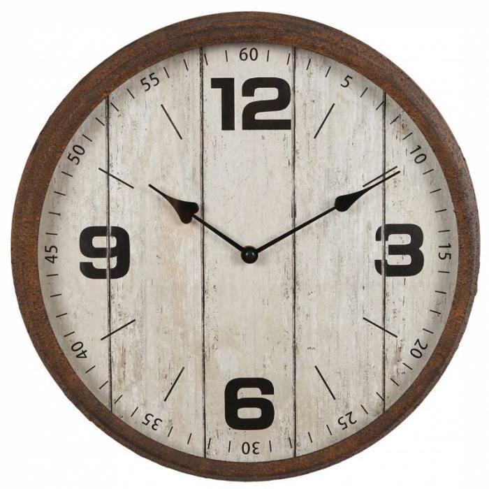 Horloge Murale Pendule Ronde de Cuisine ou Salon Intérieur Extérieur en Bois Patiné Blanc et Métal Effet Rouillé 9x38x38cm 38