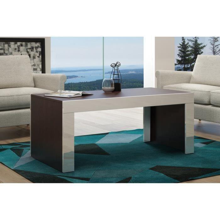 Table basse en MDF couleur wengué bordure blanche laquée 120 cm