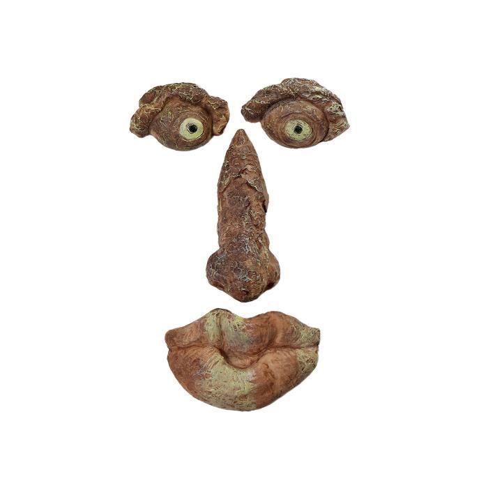 Écorce de résine de Pâques Statue d'oeil brillant de personnes âgées Visage d'arbre de monstre Ornements faciaux-Type B