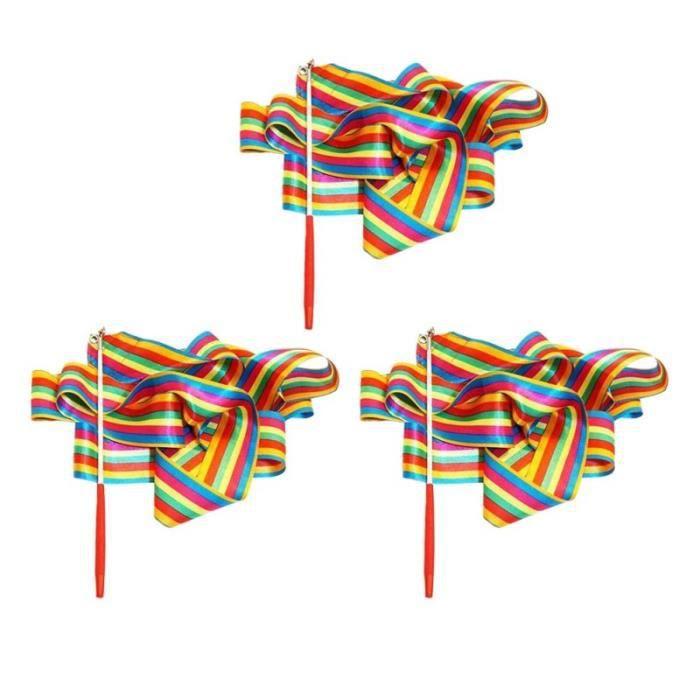 3 pièces 4 M ruban bande horizontale danse rythmique banderoles Art gymnastique accessoire RUBAN DE GYMNASTIQUE RYTHMIQUE